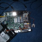 Inside the modded original Xbox, showing the Xenium modchip.