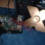 Inside the modded original Xbox, showing the LEDs.