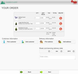 jadecliff sales app order page