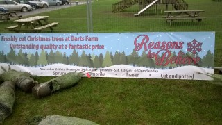christmas tree banner at darts farm shopping village, topsham