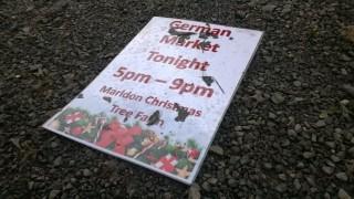 german market sign at marldon christmas trees
