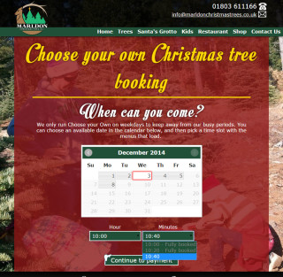 marldon christmas trees website 2014 choose your own tree booking page 2
